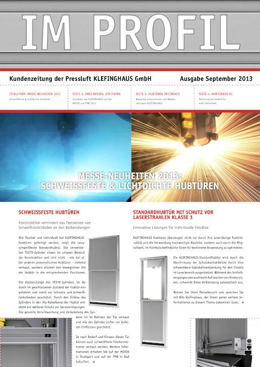 Die September-Ausgabe 2013 unserer Kundenzeitung